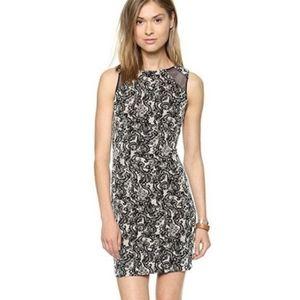 Alice+Olivia Thalia Sleeveless Dress Black/Cream 8